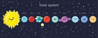 Poster Sonnensystem mit niedlichen lächelnden Planeten, Sonne und Mond.