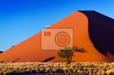 Poster Sonnenuntergang Dünen der Namib Wüste, Sossusvlei, Namibia, Afrika