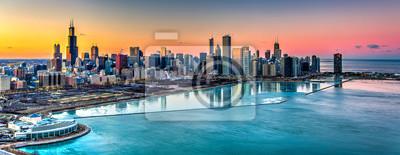 Poster Sonnenuntergang hinter Chicago im Winter