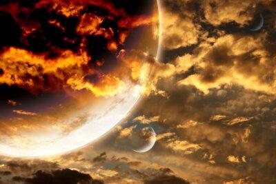 Poster Sonnenuntergang im Sturm Himmel und fremden Planeten
