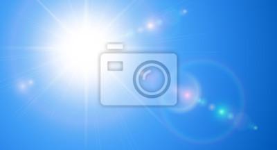 Poster Sonniger Hintergrund, blauer Himmel mit Sonne