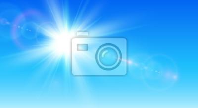 Poster Sonniger Hintergrund, blauer Himmel mit Sonne und Linseneffekt