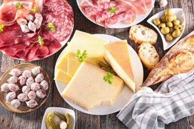 Poster Sortiment von Käse, Fleisch