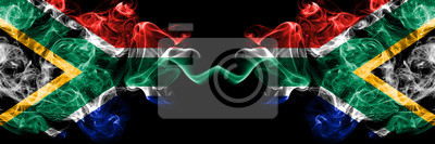 Poster South Africa vs South Africa, African smoky mystic flags placed side by side. Thick colored silky abstract smoke flags concept