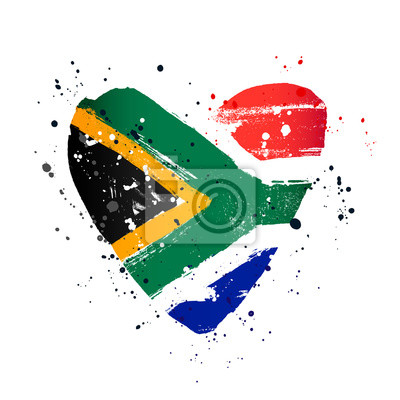 Poster South African flag in the form of a big heart.