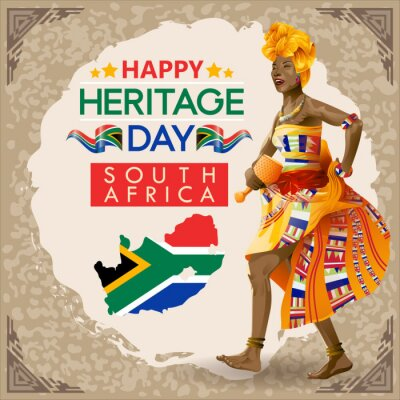 Poster South African Heritage day wishes with Traditional Performer