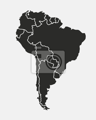 Poster South America map isolated on a white background. Latin America background. Map of South America with regions. Vector illustration