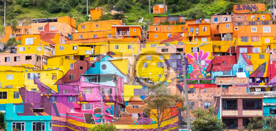 Poster South Bogota colorful houses in district called Los Puentes