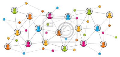 Poster Soziales Netzwerk / Vektor, farbig, freigestellt