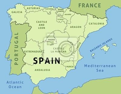 Spanien Regionen Karte.Poster Spanien Karte Mit Regionen