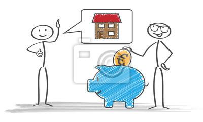 Sparschwein Strichmännchen Haus Euro Münze Sprechblase