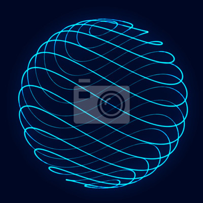 Poster Sphere with twist lines. Background for business event. Wireframe technology blue sphere. 3d rendering.