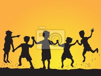 spielende Kinder Silhouette