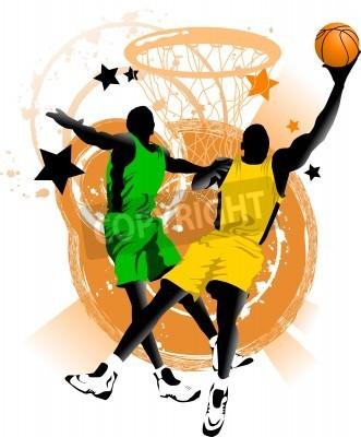 Poster Spieler im Basketball im Hintergrund der Basketball-Ringe (Vektor);