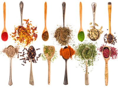 Poster spoons with spices