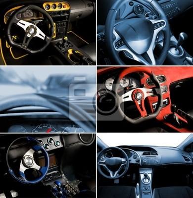 Poster Sport car interior Collage