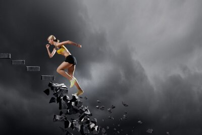 Poster Sport-Frau überwinden Herausforderungen