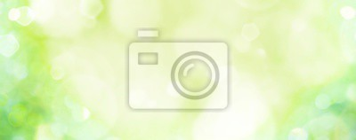 Poster Spring background -  abstract banner - green blurred bokeh lights -