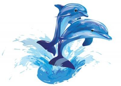 Poster Springen Delfine