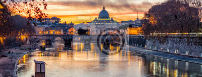 Poster St Peter Kathedrale bei Sonnenuntergang in Rom, Italien
