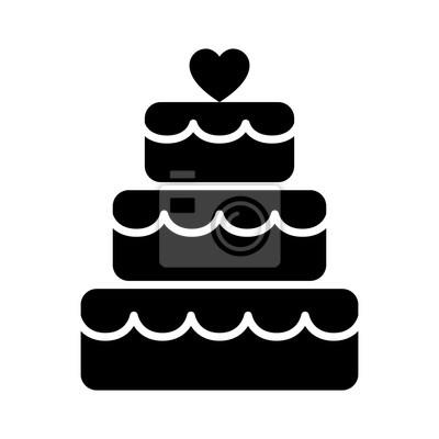 Stacked Hochzeitstorte Dessert Mit Herz Topper Flachen Vektor Symbol