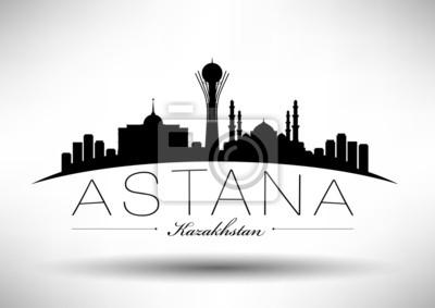 Stadt Astana Typografische Skyline Design