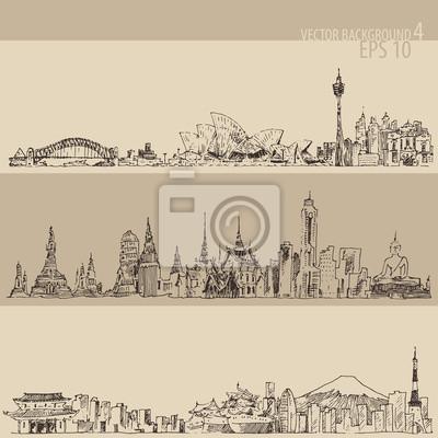 Stadt gesetzt Sydney, Bangkok, Tokio Jahrgang eingraviert Illustration