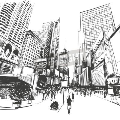 Poster Stadt Hand gezeichnet, Vektor-Illustration