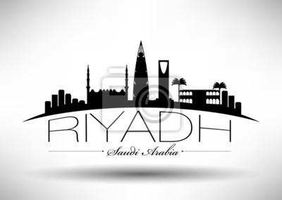 Stadt Riad Typografische Skyline Design