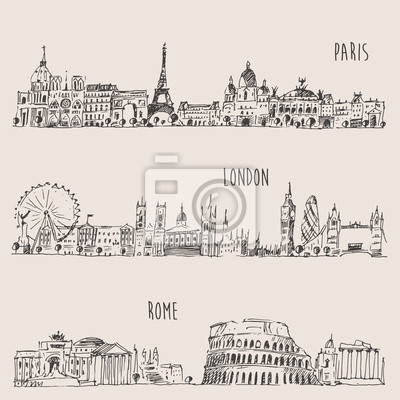 Stadt Satz (London, Paris, Rom) Jahrgang eingraviert Illustration