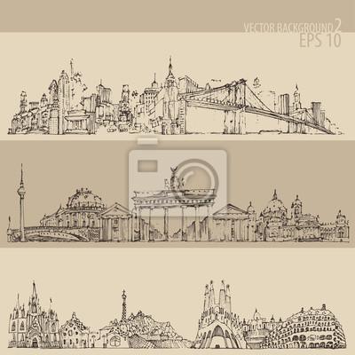 Stadt-Set (New York, Berlin, Barcelona) eingraviert Darstellung