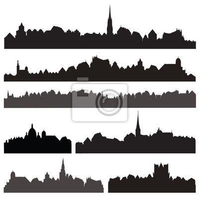 Stadt silhouett gesetzt. Europäisches Stadtbild isoliert. Skyline festgelegt. Gebäude Silhouette Sammlung.