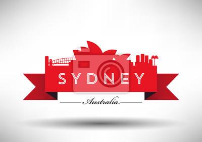 Stadt Sydney Skyline Design Typografische