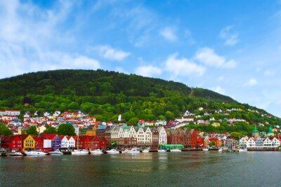 Poster Stadt von Bergen, Norwegen