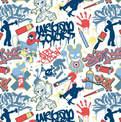 städtische Graffiti-Elemente nahtlose Vektor-Muster