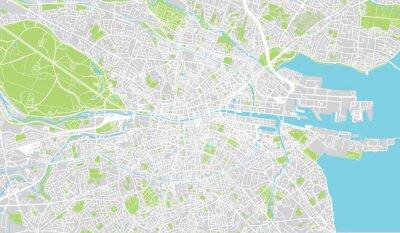 Poster Städtische Stadtkarte von Dublin, Irland