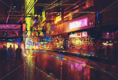Poster Stadtstraße mit Beleuchtung und Nachtleben, digitale Malerei
