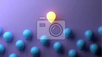 Poster Stand out concept with glowing balloons