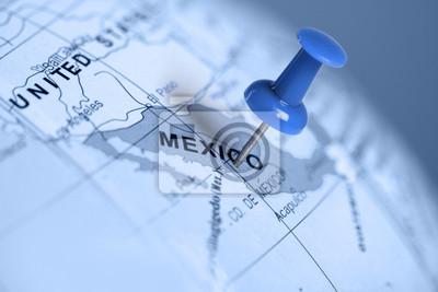 Standort Mexiko. Auf der Karte blau Pin.