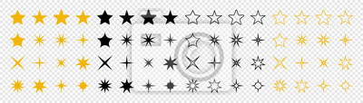 Poster Stars collection. Star vector icons. Golden and Black set of Stars, isolated on transparent background. Star icon. Stars in modern simple flat style. Vector