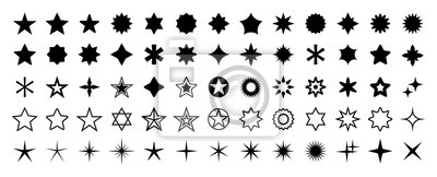 Poster Stars set of 65 black icons. Rating Star icon. Star vector collection. Modern simple stars. Vector illustration.