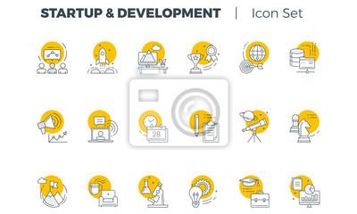 Poster Start und Entwicklung Vector Icon Set