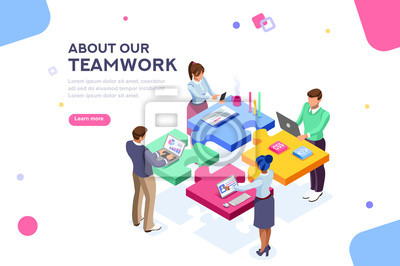 Poster Startup employees. Goal thinking, infographic of puzzle. Cooperation construction by agency group to create a team. Concept for webdesign. White isolated concept with characters flat isometric Vector