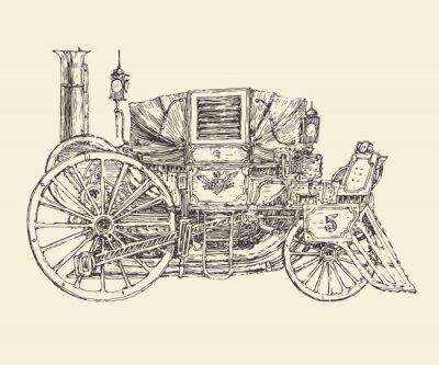 Poster Steam Punk-Wagen, graviert Stil, Vektor-Illustration