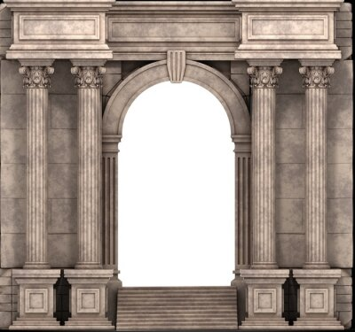 Poster Steintreppen und Eingangsbereich mit korinthischen Säulen. 3D-Darstellung.