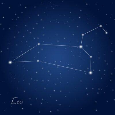 Poster Sternbild Löwe Sternzeichen am Sternenhimmel