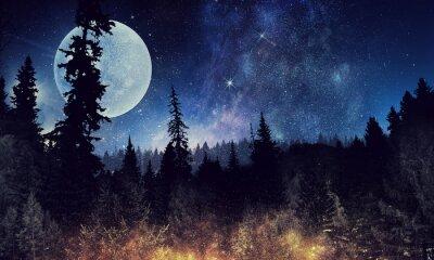 Poster Sternenhimmel und Mond. Gemischte Medien