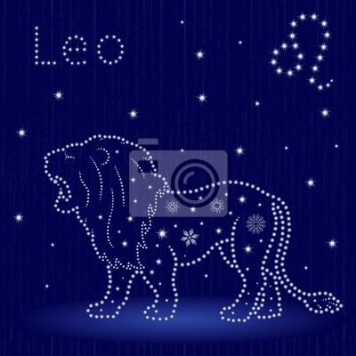 Sternzeichen Löwe poster: sternzeichen löwe mit schneeflocken