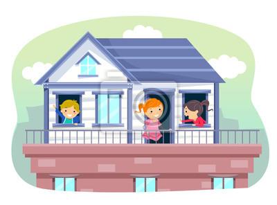 Poster Stickman Kinder Auf Dem Dach Haus Illustration