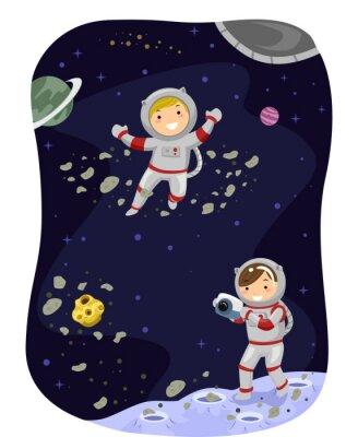 Poster Stickman Kinder Weltraum Foto